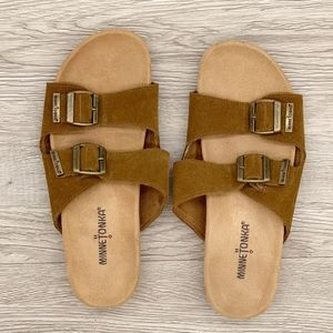 Minnetonka | Gypsy Dusty Brown Slide Sandals 8